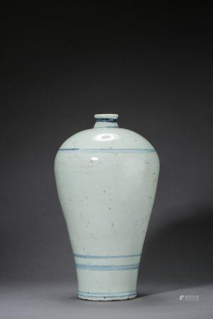 A Chinese Blue and White Porcelain Plum Vase