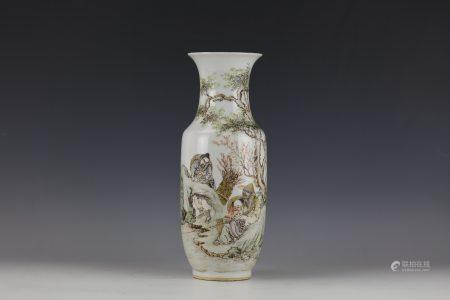 A Chinese Famille Rose Poetic Figural Vase