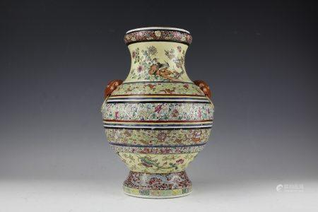 A Famille-Rose Elephant Ear Handles Vase Guangxu Period
