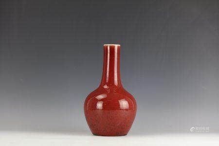A Chinese Red-Glazed Porcelain Vase Qing Dynasty