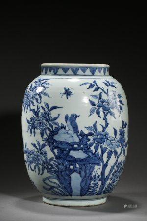 A Chinese Blue and White Porcelain Pot Late Ming