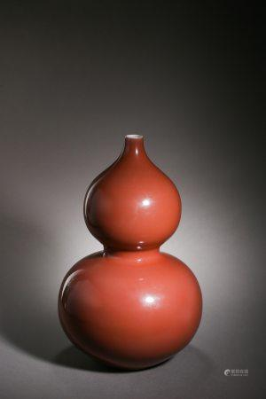 Qianlong Red Glazed Double-Gourd Porcelain Vase