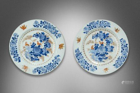 Qing Yongzheng Red Gold and Blue Floral Porcelain Dish