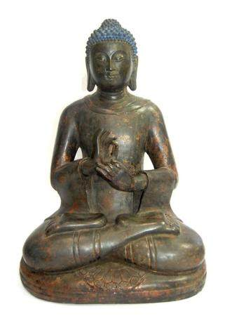 A Large Chinese Bronze Alloy Buddha, with Soft Facial Featur