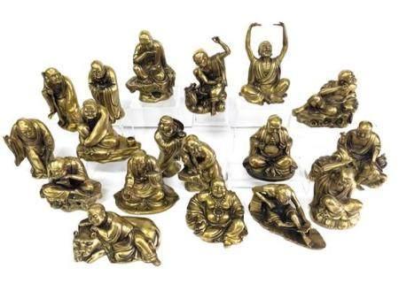 Eighteen Chinese Bronze Alloy Lohans, each Monk Cast with an