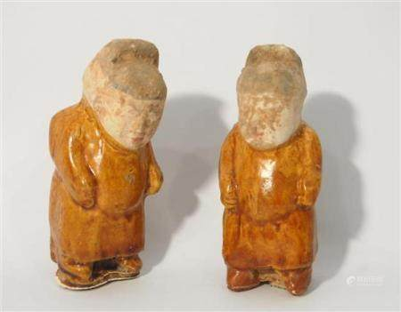 A Pair of Rare Pottery Dwarfs, the Short Stocky Figures Dres