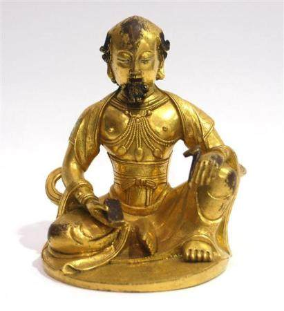 A Rare Sino-Tibetan Gilt Bronze Foreign Priest, Seated in th