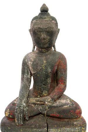 A Carved Polychrome Seated Buddha, a Lotus Bud Finial, Late
