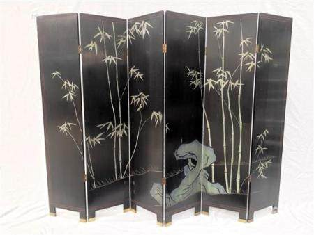 A Tall Chinese Six Panel Black Lacquer Screen, Painted with