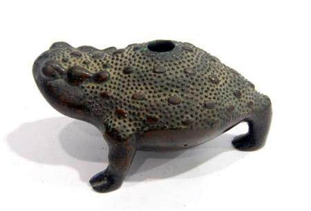 A Japanese Bronze Three-Legged Toad Water Dropper, Realistic