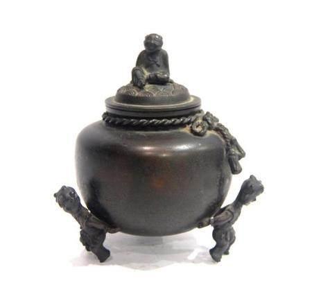 A Dark Bronze Alloy Covered Censer, Bai Feng, Impressed Make