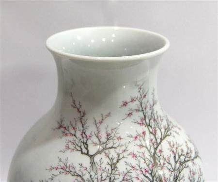 A Baluster Vase Painted in Overglaze Enamel, Painted with Sc