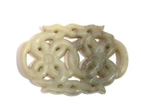 A Chinese Pale Grey Pierced Jade Plaque