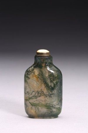 A MOSS AGATE CARVED SNUFF BOTTLE