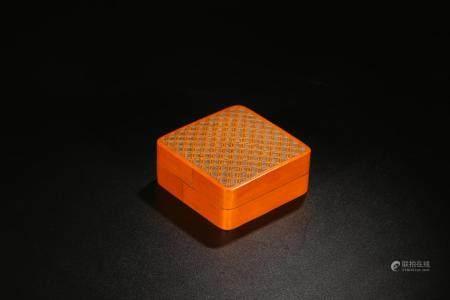 SQUARE BAMBOO INKPAD BOX WITH GEOMETRIC PATTERN