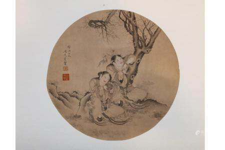 CHINESE SCROLL PAINTING OF TWO IMMORTALS