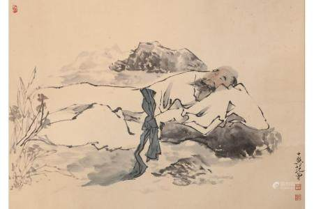CHINESE PAINTING OF A SLEEPING MONK