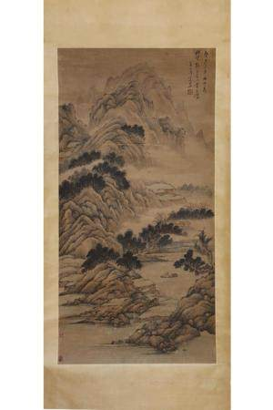 CHINESE SCROLL PAINTING OF MOUNTAIN VIEW