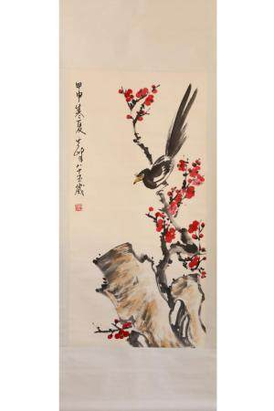 CHINESE PAINTING OF MAGPIE ON PLUM BLOSSOM
