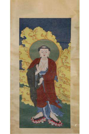 CHINESE SCROLL PAINTING OF BUDDHA ON SILK