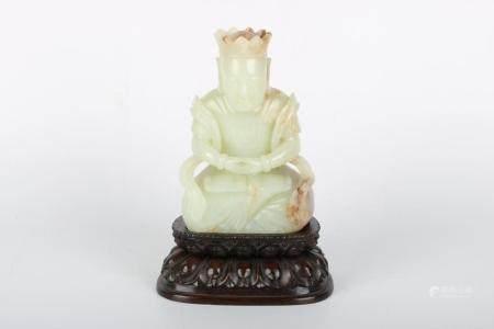 Chinese Hetian Jade Earth Treasure Bodhisattva