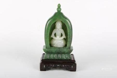 Chinese Jade Buddha Shrine With Jade Buddha Group