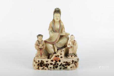 Chinese Shoushan Furong Stone Statue