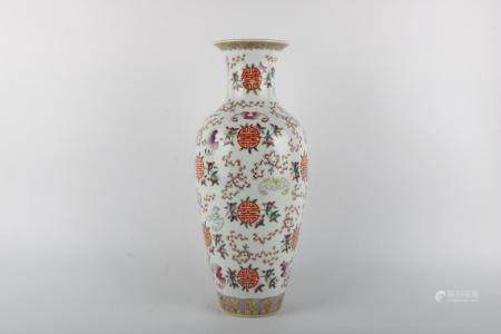 Chinese Qing Dynasty Jiaqing Period Famille Rose Vase