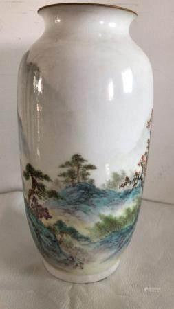 Deng Bihao's famille rose Landscape porcelain Bottle in 1960