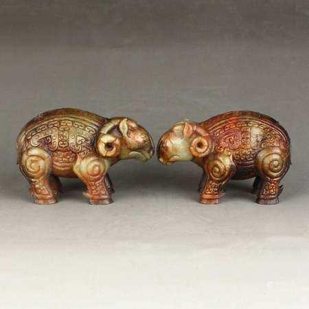 A Pair Vintage Chinese Hetian Jade Sheep Statues