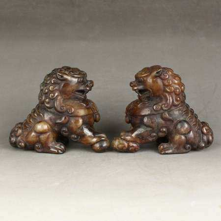 Pair Vintage Chinese Hetian Jade Statues - Lucky Lions