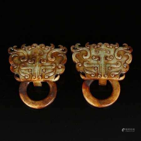 Pair Vintage Hetian Jade Fortune Beast Door Knockers
