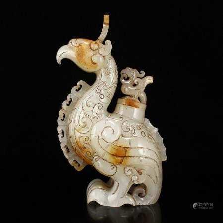 Superb Chinese Hetian Jade Divine Birds Burner