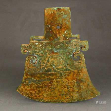 Vintage Chinese Bronze Axe Statue