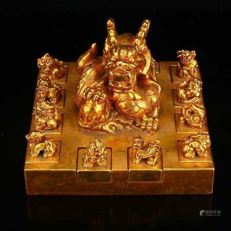 Vintage Chinese Gilt Gold Red Copper Lucky Dragon Seals