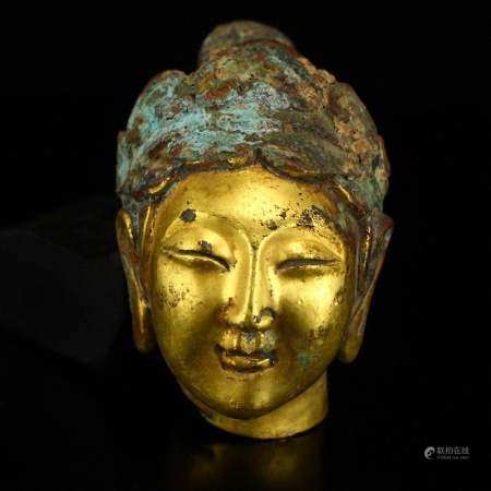 Vintage Chinese Gilt Gold Bronze Kwan-yin Head Statue