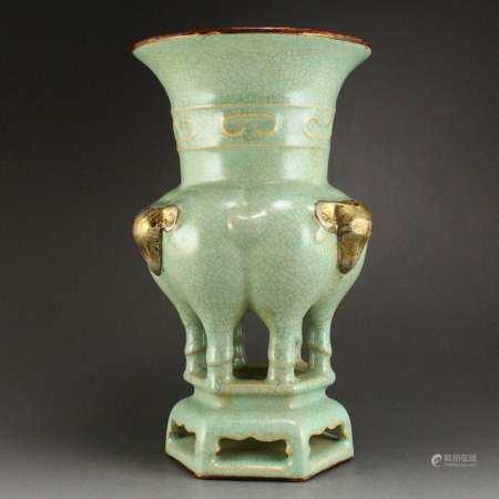 Sky Blue Glaze Ru Kiln Inlay Silvers Porcelain Vase