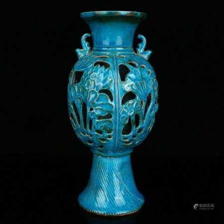 Blue Glaze Chai Kiln Double Layer Porcelain Vase