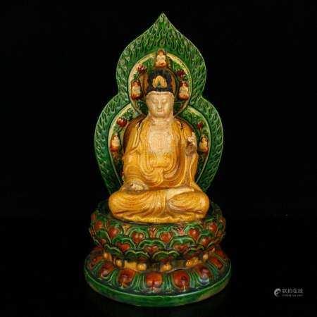 Chinese Liao Sancai Mahavairocana Porcelain Statue