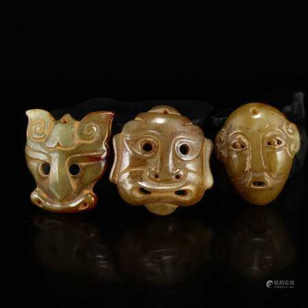 Three Vintage Chinese Hetian Jade Masks Pendants