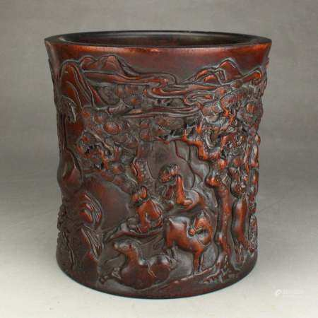 Chinese Qing Dy Low Relief Zitan Wood Big Brush Pot