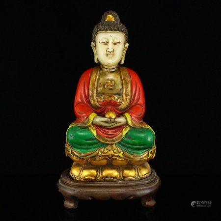 Gilt Gold Shoushan Stone Sakyamuni Buddha Statue