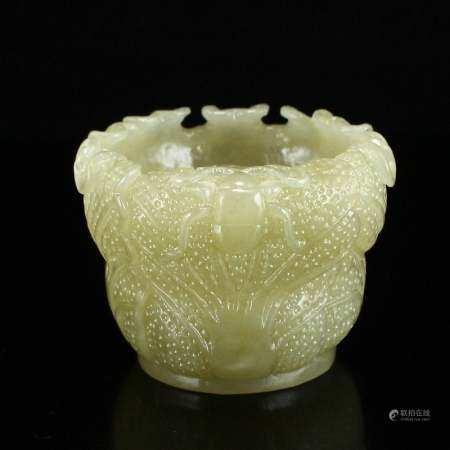Chinese Natural Hetian Jade Cabbage Shape Brush Washer