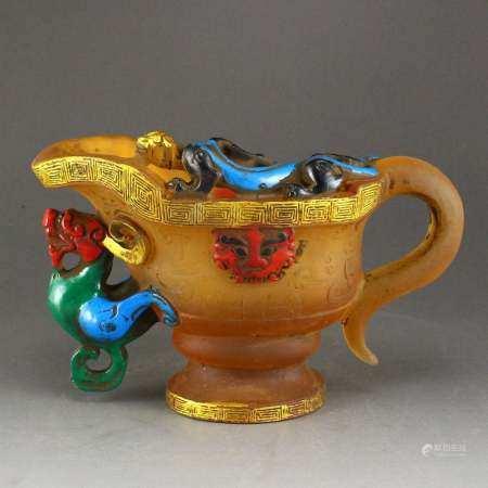 Vintage Gilt Gold Peking Glass Chi Dragon Wine Cup