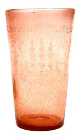 A large pink bubble glass vase with etched three-masted galleon, 27cms (10.5ins) high.