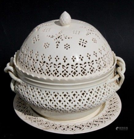 A Leeds Pottery cream ware chestnut basket, cover and stand, each piece with pierced decoration,
