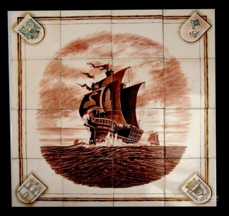 A group of sixteen Meissen tiles depicting a three-masted galleon in rough seas, with Heraldic