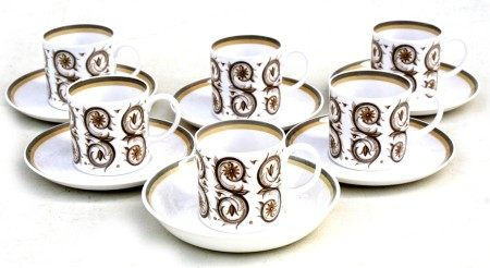 A set of six Susie Cooper Venetia pattern coffee cans and saucers.Condition Report One saucer