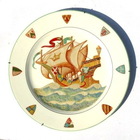A Myott charger decorated with a galleon, 35cms (13.75ins) diameter.