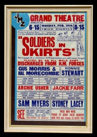 WWII era theatre poster - Soldiers in Skirts - dated February 25th, framed & glazed, 47 by 72cms (